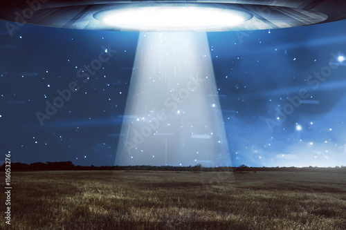 Aluminium Prints UFO UFO flying in a dark sky