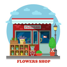Flower Shop Or Store Side View