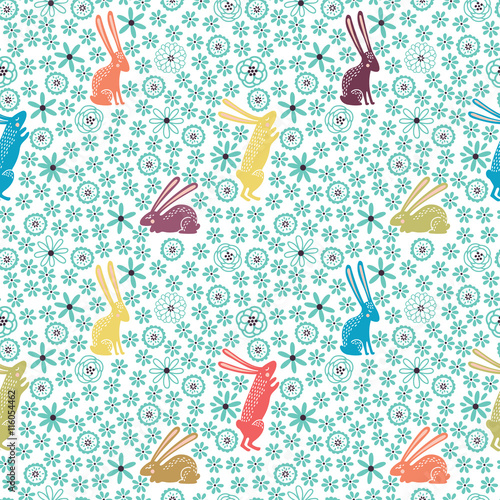 Cotton fabric Seamless floral pattern with cute little rabbits