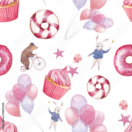 Cotton fabric Watercolor circus seamless pattern. Wallpaper with party air balloons, donuts, cupcakes and fantasy cartoon animals on white background. Hand drawn vintage texture.