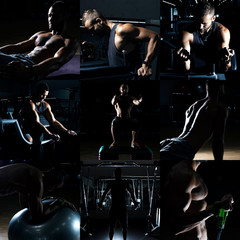 Collage of different bodybuilders images in gym. Beautiful man body.