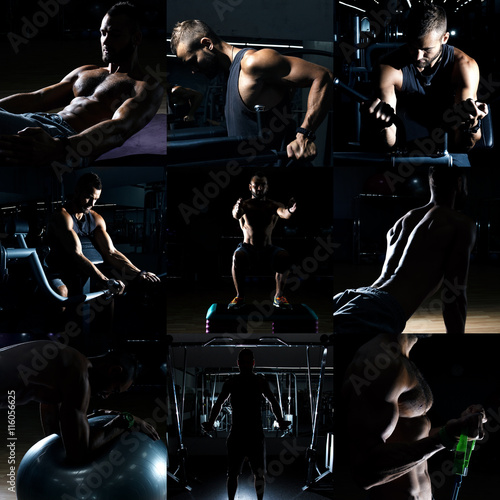 In de dag Muziekband Collage of different bodybuilders images in gym. Beautiful man body.
