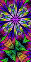Naklejka Multicolored flower pattern in stained-glass window style. You c
