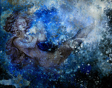 Drawing Of Ocean Mermaid Plying Flute On Abstract Background