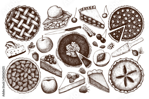 Vector collection of ink hand drawn fruit and berry baking illustration Tableau sur Toile