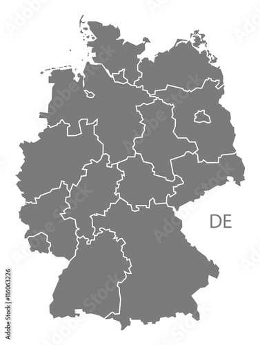 Fotografie, Obraz Germany Map grey