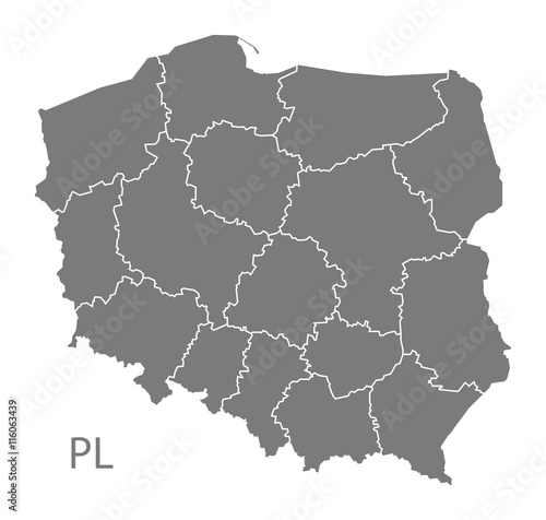 Fotografía  Poland Map with regions grey
