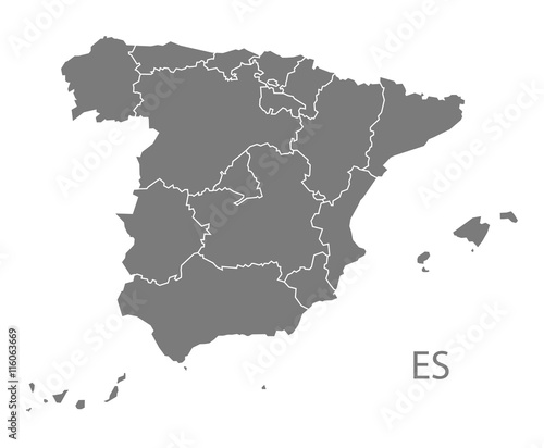 Obraz na plátně Spain Map with provinces grey