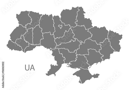 Fotografie, Obraz Ukraine Map with regions grey