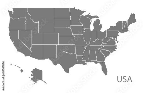 Stampa su Tela  USA Map with federal states grey