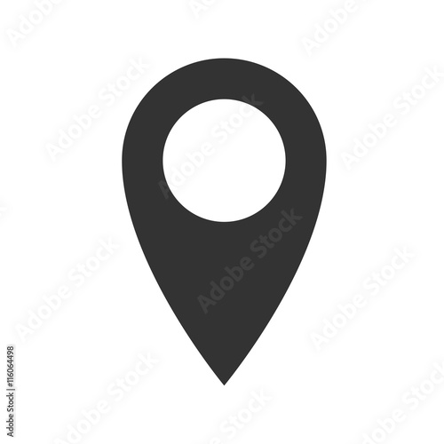Location icon  Simple flat logo of location sign on white
