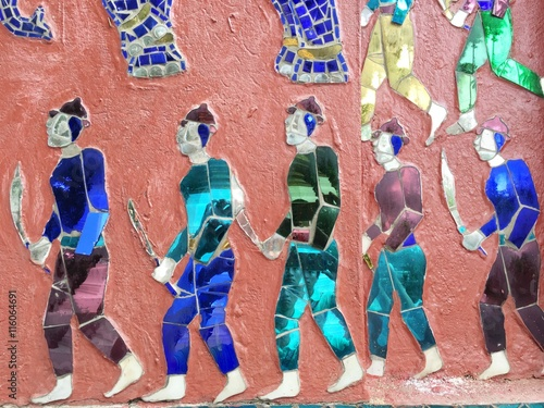 Fototapety, obrazy: art from color glass at  wall of temple