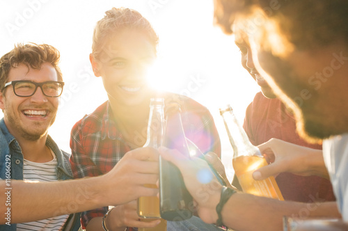 Friends toasting with beer Poster