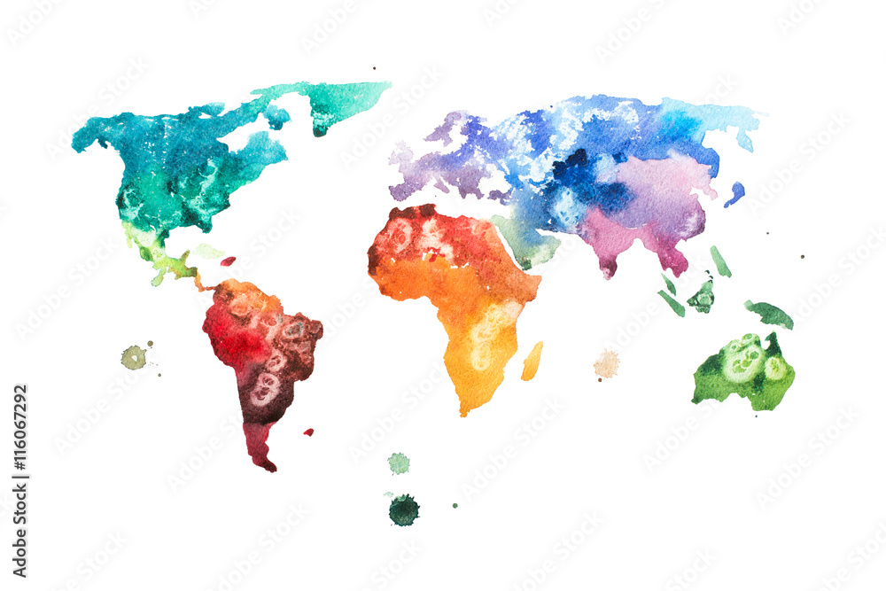 Hand drawn watercolor world map aquarelle illustration. Poster ...