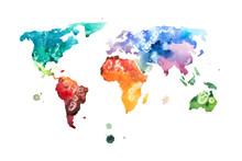 Hand Drawn Watercolor World Ma...