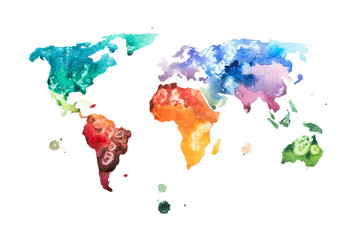 Fototapeta Hand drawn watercolor world map aquarelle illustration.