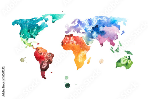 Hand drawn watercolor world map aquarelle illustration. Poster