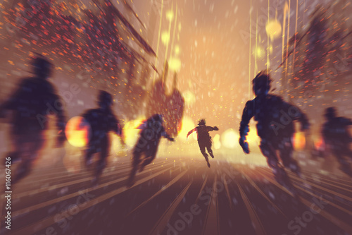 man runing away from zombies,burning city in background,illustration,digital pai Wallpaper Mural