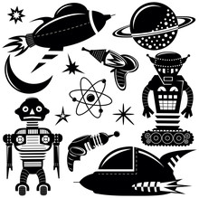 Space Invaders Vector Black Wall Stickers Set