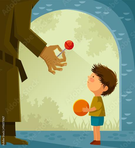 Suspicious stranger offers candy to a little boy Fototapeta