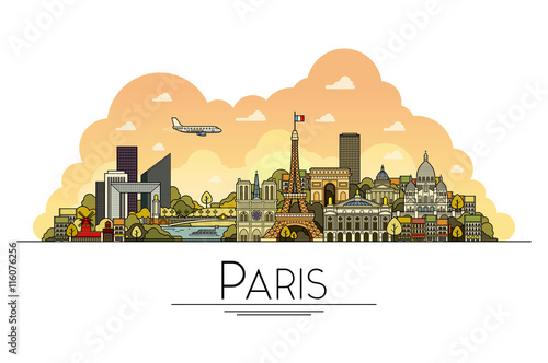 Vector line art Paris, France, travel landmarks and architecture icon Canvas Print