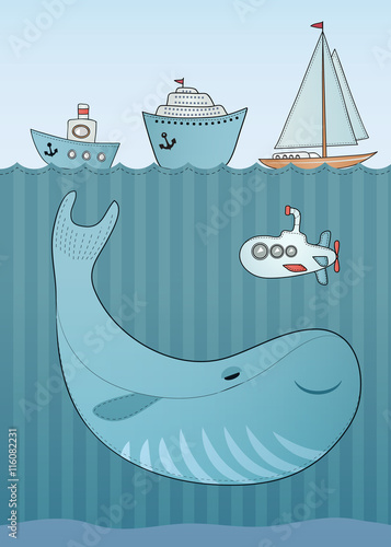Holiday card design. Sea background. Cartoon whale.