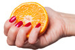 Woman with manicured red nails holding an orange