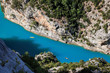 Canyon of Verdon with boats in Provence, France. The largest alpine canyon in Europe.