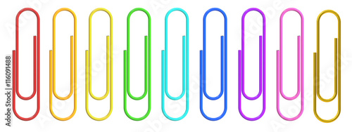 Photo  Colored Paper Clips closeup, 3D rendering