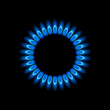 Gas Burners, Blue Flame, Vecto...