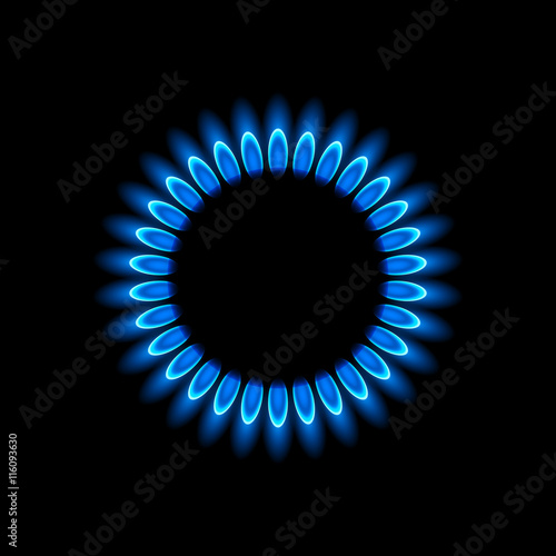 Fotografie, Obraz  Gas burners, blue flame, vector background