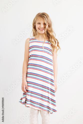 NEXT Gorgeous Little Girls Blue Stripe Dress NWT