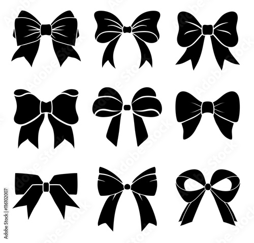 Foto Set of graphical decorative bows. Vector icon collection