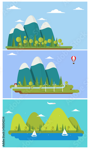 Tuinposter Turkoois Flat design nature landscape illustration with sun, hills and clouds.