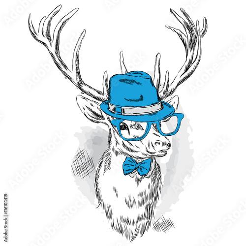 piekne-jelenie-w-kapeluszu-okulary-przeciwsloneczne-i-krawat-ilustracji-wektorowych-dla-karty-lub