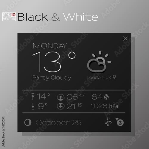 Vector Design Of Elegant Weather Forecast Application Black And