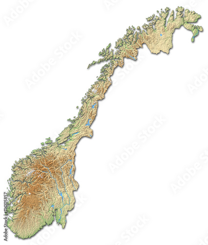 Relief map of Norway - 3D-Rendering Fototapet