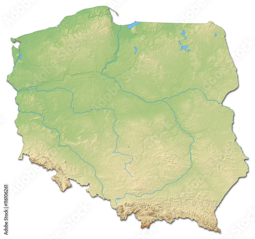 Fotografie, Tablou Relief map of Poland - 3D-Rendering