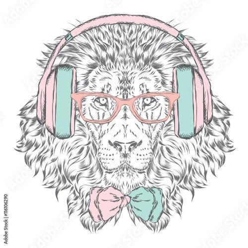 Obraz premium Słuchawki Leo i okulary przeciwsłoneczne. Ilustracji wektorowych.