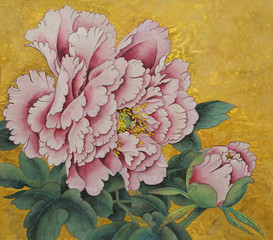 Panel Szklany Peonie pink peony flower on a gold background