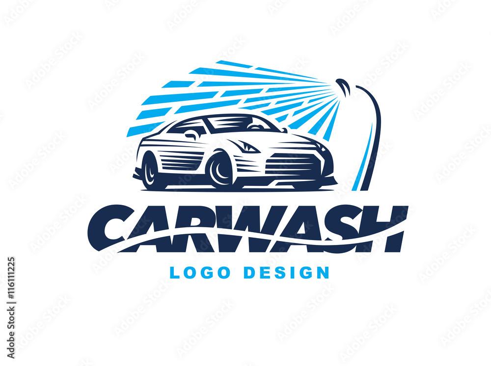 Photo Art Print Logo Car Wash On Light Background Europosters