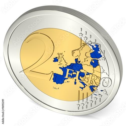 Zwei Euro Münze Mit Eurozone In Blau Acheter Cette Illustration