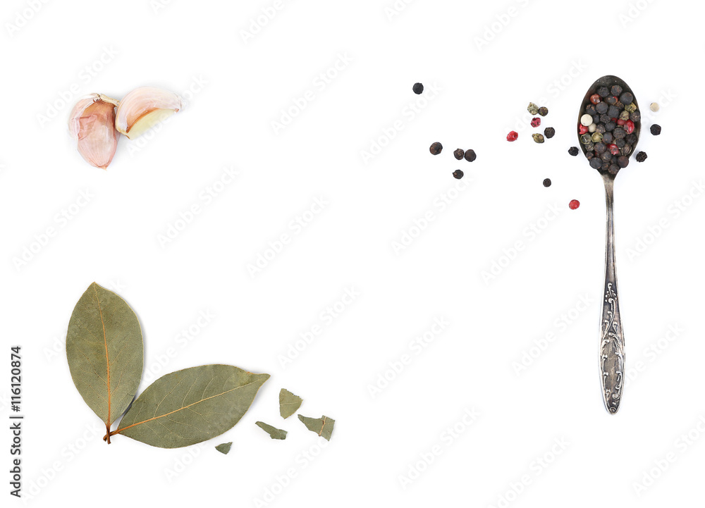 Fototapety, obrazy: Composition of different spices on light background