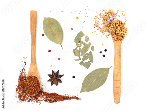 Photo Stands Herbs 2 Composition of different spices in wooden spoons on light background