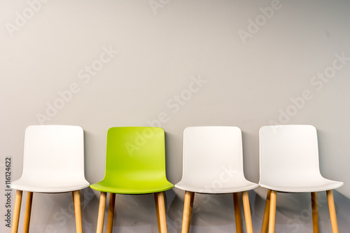 Fotografie, Obraz  Modern chairs by the wall