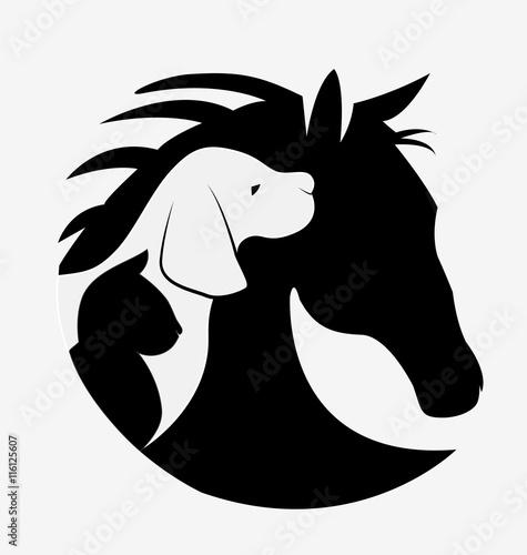 Fotobehang Draw Dog cat and horse logo