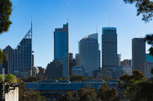 Fingers wharf with Sydney Business District skyscrapers on sunny day Canvas Print