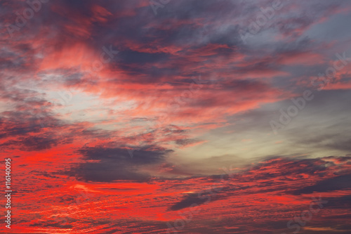 Bright orange, red and yellow colors sunset sky Canvas Print