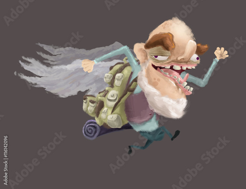 Old man, Funny, Character, Cartoon, Grandfather, Tourist Wallpaper Mural