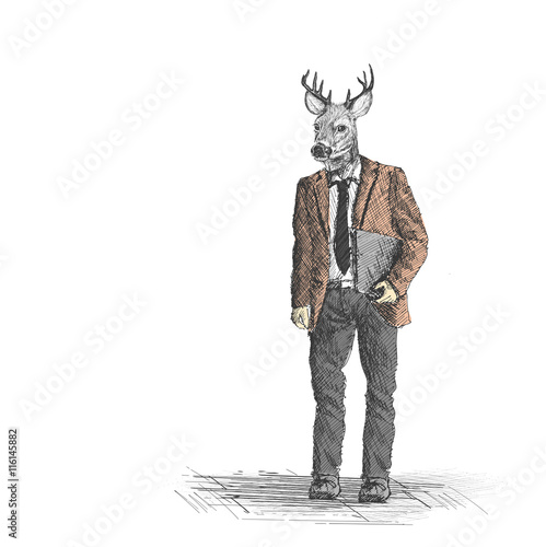 Poster Animaux de Hipster Skech of hipster deer business person on White Backgroud